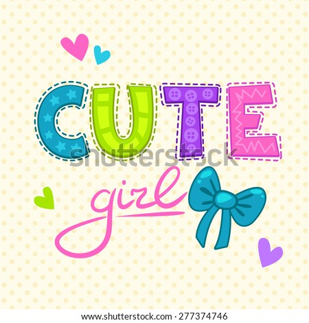 Cute vector illustration for girls t-shirt print. - stock vector