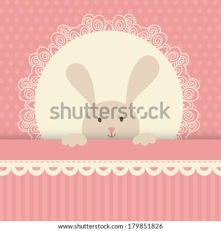 Cute vector illustration. Little toy rabbit, white lace, pink background with polka dot.  - stock vector