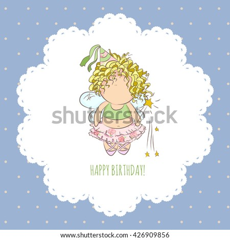 cute vector illustration of a fairy with magic stick. doodle. happy birthday card. romantic style. invitation card template for girl - stock vector