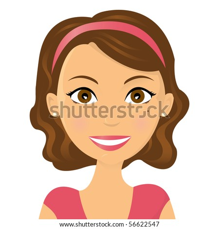 Cute vector illustration of a smiling woman - stock vector