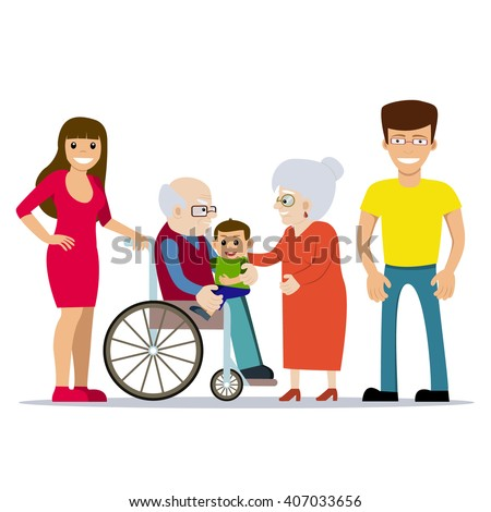 Cute vector illustration of happy grandparents with their children and grandchild. Grandfather in wheelchair holding baby on his lap. Cartoon style. Happy family. Generations. People with disability. - stock vector