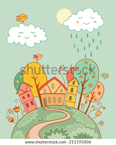 Cute vector illustration with sweet autumn home, sun,trees, flowers and clouds - stock vector