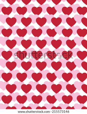 Cute Vector Overlapping Heart Pattern  - stock vector