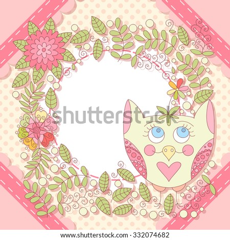 Cute vector owl photo frame. Baby shower card. Scrapbook elements. Vector illustration.