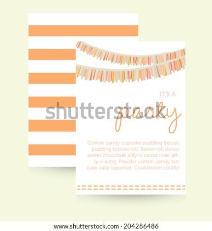 Cute Vector Party Invitation Template Birthday Stock Vector