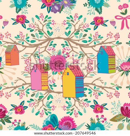 Cute vector pattern of blossom branches, flowers and cute houses. Endless background. Ethnic seamless pattern. Vector backdrop.