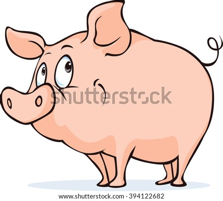 cute vector pig isolated on white background - stock vector