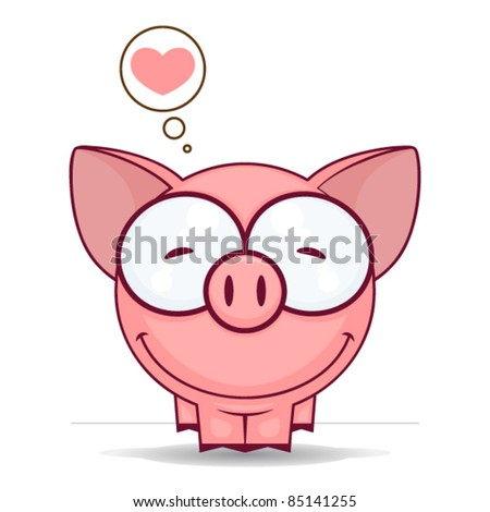 Cute vector piggy with heart.