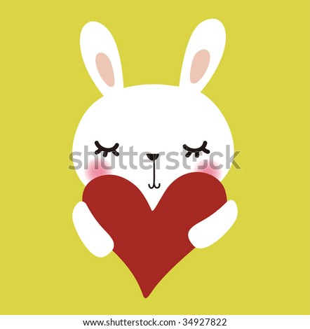 Cute vector rabbit with love - stock vector