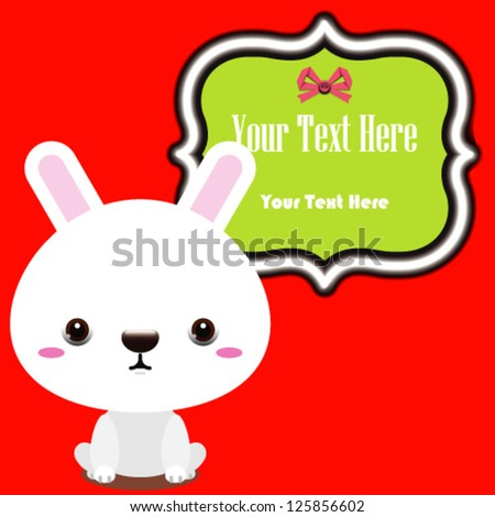 cute vector rabbit with text