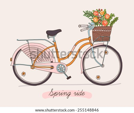 Cute vector retro bicycle for ladies with basket full of spring flowers | Hand drawn vintage fashionable design on spring season ride. Ideal for scrap booking, post cards and wall decoration - stock vector