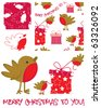 Cute vector Robin. Use to create Christmas greetings.  All patterns are repeat. - stock vector