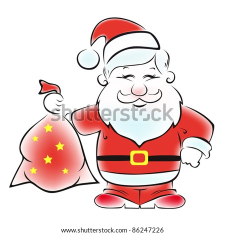 Cute vector Santa with a sack of gifts. - stock vector