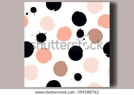 Cute vector seamless pattern. Brush strokes, circles blots of pink and black.   - stock vector