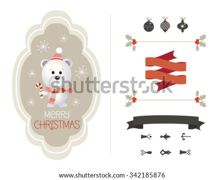 Cute vector set of Christmas elements, vintage banner, ribbon, labels, frames, badge, stickers. Vector Christmas element with retro vintage styled design. - stock vector