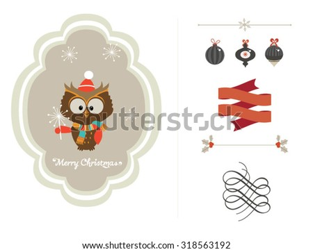 Cute vector set of Christmas ornaments and decorative elements, vintage banner, ribbon, labels, frames, badge, stickers. Vector Christmas element with retro vintage styled design. - stock vector