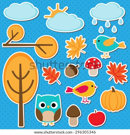 Cute vector set of different autumn elements - stock vector