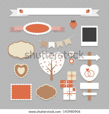 Cute vector set of different labels, sweets, shapes and other nice elements