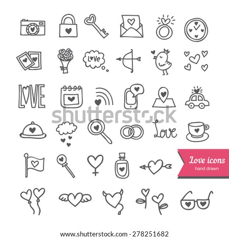 Cute vector set of love and romantic hand drawn icons. Sketched wedding elements, hearts, objects for valentine cards and save the date cards - stock vector