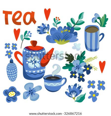 Cute vector set of teapots and tea cups and floral elements, cozy pattern, tea time background.  - stock vector