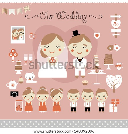 Cute vector set of wedding, love and sweets - stock vector