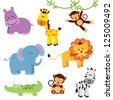 Cute Vector Set of Zoo Animals - stock photo