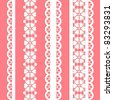 cute vector straight lace set. Seamless lace trims for use with fabric projects, backgrounds or scrap-booking.  Elements can also be used as brushes - stock vector