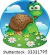 Cute vector tortoise - stock vector