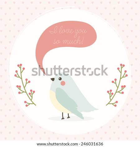 cute vector Valentines day postcard with cartoon bird and i love you so much text message and branches with berries on blue background with hearts. Cartoon romantic background for your greeting card. - stock vector
