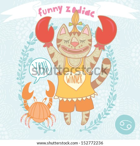 Cute Vector Zodiac signs with funny cat - Cancer. One of a set. Vector illustration. Made with love.