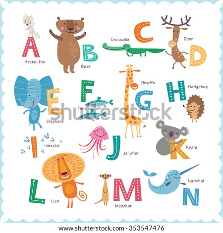 Cute vector Zoo alphabet with animals in cartoon style. Part 1. - stock vector