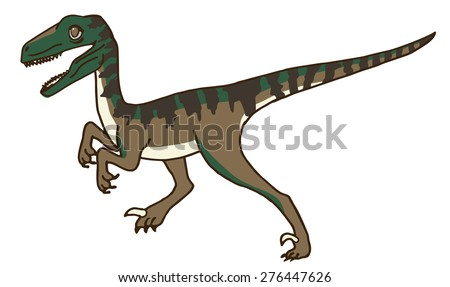 Cute Velociraptor or Raptor Dinosaur Stalking his Prey, or maybe Running, Walking, or Standing.  Better Watch Out or this Scary Raptor will Getcha!  Run for your Life!  Hide!  Defend Yourself!! Cry! - stock vector