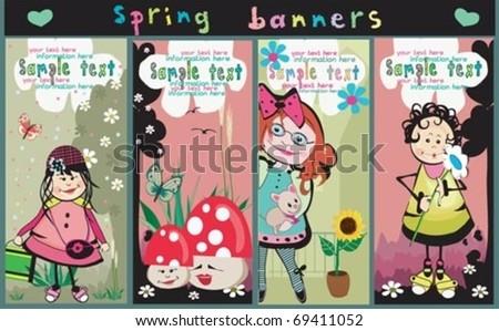 Cute Vertical  banners - stock vector