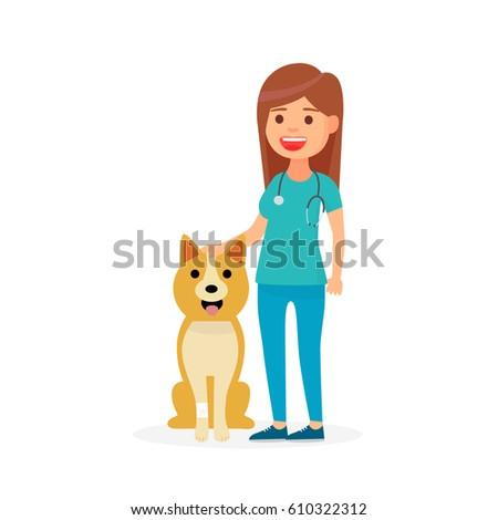 Cute Vet Girl Vet Dog Dog Stock Vector 610322312 ...