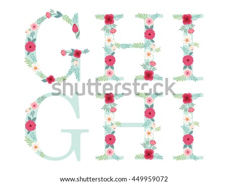 Cute vintage alphabet letters with hand drawn rustic flowers isolated on white background - stock vector
