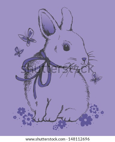 Cute Vintage Bunny and Butterflys - stock vector