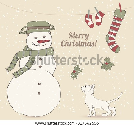 Cute Vintage Christmas Card with Funny Snowman and a Kitten - stock vector
