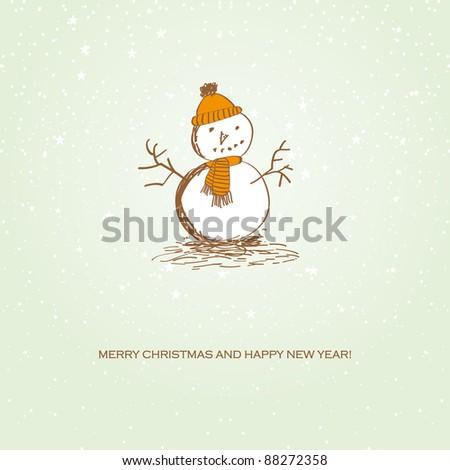 Cute vintage christmas card with snowman - stock vector