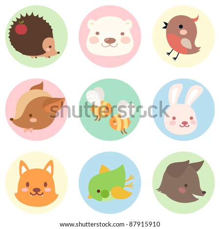Cute vintage forest creatures icon set. - stock vector