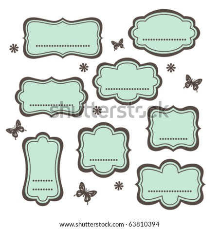 Cute vintage frames - stock vector