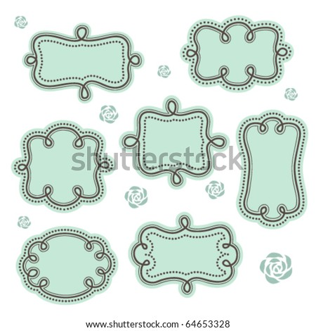 Cute vintage frames set 2. - stock vector