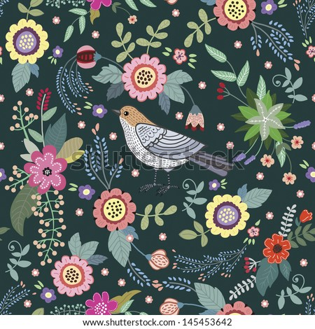 cute vintage pattern with a bird and flowers - stock vector