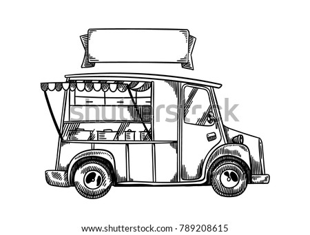 Cute Vintage Street Food Truck With Blank Company Sign Hand Drawn Line Art Vector Illustration