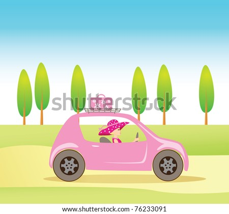 Cute vintage style girl driving a pink luxurious convertible car - stock vector