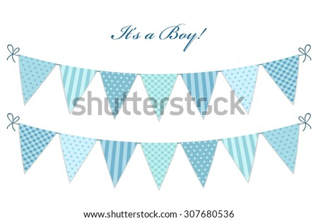 Cute vintage textile blue shabby chic bunting flags for boy's baby shower - stock vector