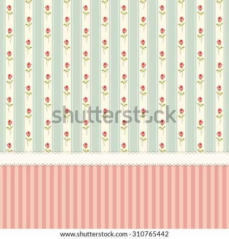 Cute vintage wallpaper with shabby chic roses on striped background