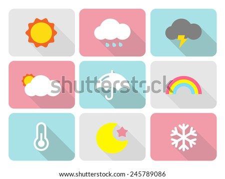 Cute weather flat icons with long shadow - stock vector