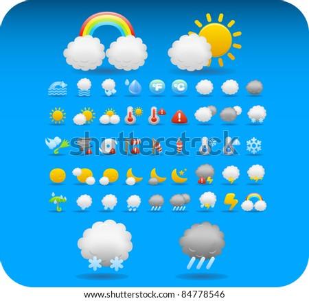 cute weather,season,nature icon set - stock vector