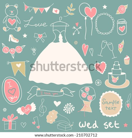 Cute wedding. Big cartoon romantic set in vector.  Bright illustration, can be used as creating card, invitation card for wedding, birthday or vintage background.  - stock vector