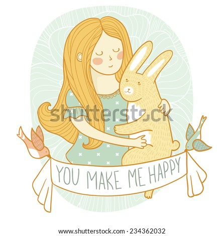 Cute wedding card with rabbit and girl in love. Vector invitation. Valentines day. - stock vector